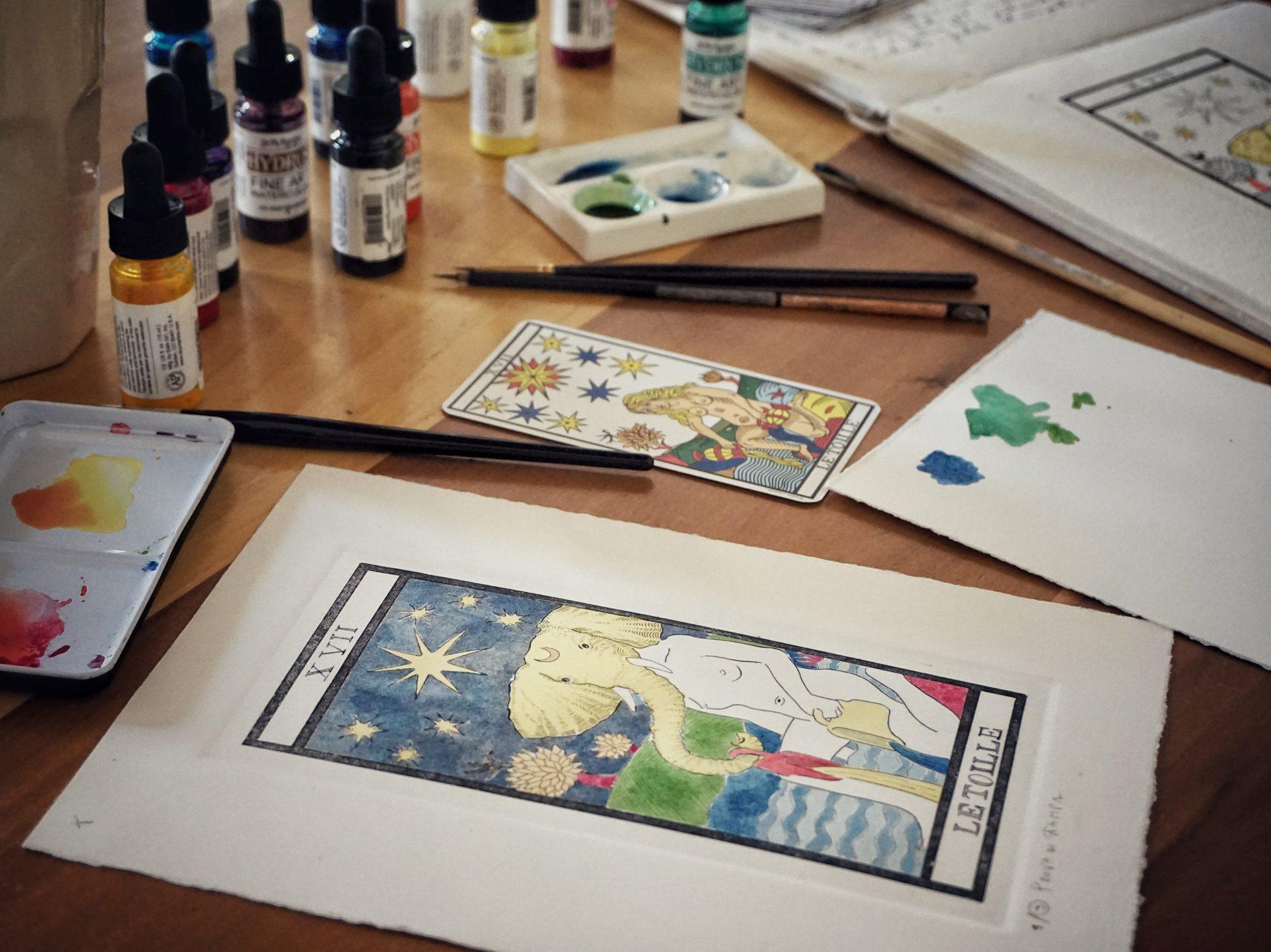 Acquaforte colorata ad acquerello